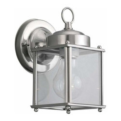 Sea Gull Lighting - 1-Light Wall Lantern Antique Brushed Nickel - 8592-965 Sea Gull Lighting New Castle 1-Light Outdoor Wall Lantern with a Antique Brushed Nickel Finish