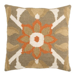 "Surya FA010-2222P 80% Wool / 20% Cotton 22"" x 22"" Decorative Pillow - A subtle, floral design accents this pillow. Colors of taupe, beige, ivory, and orange bring an earthy tone to your room. This pillow contains a poly fill and a zipper closure. Add this 22"" x 22"" pillow to your collection today. Filler: Poly Fiber. Shape: Square"