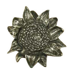 Anne at Home Hardware - Sunflower Knob, Pewter w/ White Wash - Made in the USA - Anne at Home customized cabinet hardware enables even the most discriminating homeowner to achieve the look of their dreams.  Because Anne at Home cabinet hardware is designed to meet your preferences, it may take up to 3-4 weeks to arrive at your door. But don't let that stop you - having customized Anne at Home cabinet knobs and pulls are well worth the wait!   - Available in many finishes.