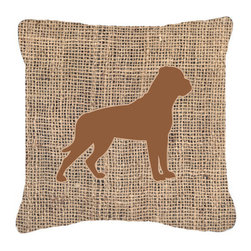 Caroline's Treasures - Rottweiler Burlap and Brown Fabric Decorative Pillow Bb1083 - Indoor or Outdoor Pillow made of a heavyweight Canvas. Has the feel of Sunbrella Fabric. 14 inch x 14 inch 100% Polyester Fabric pillow Sham with pillow form. This pillow is made from our new canvas type fabric can be used Indoor or outdoor. Fade resistant, stain resistant and Machine washable.