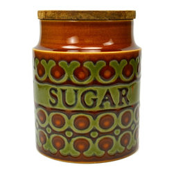 Hornsea England Bronte on base - Consigned Ceramic Sugar Kitchen Storage Jar by Hornsea, Vintage English, 1970s - Glazed porcelain sugar kitchen storage jar with wooden lid, by Hornsea, vintage English.This is a vintage One of a Kind item. Some wear and imperfections are to be expected, as described.
