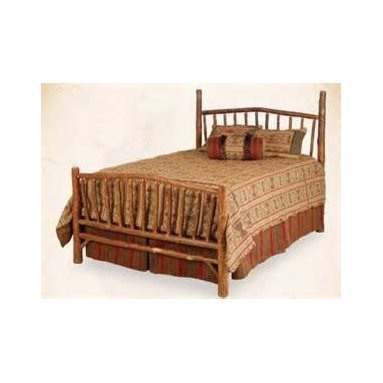 Liz Ann's Interior Design Boutique - The Sunburst Match Bed from Old Hickory Furniture Company is made of natural hickory logs in a classic rustic design.  Outside Queen Dimensions: 66Wx90L.  Headboard Height: 60H.  Footboard Height: 36H.  Includes wood side rails.  Also available as Headboard Only (inquire within for pricing).