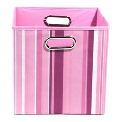 Modern Littles - Modern Littles Rose Canvas Folding Storage Bin in Stripes - Welcoming a little one to the world requires decorating her sanctuary just so. We think these bins of pretty pink designs is the perfect way to introduce your girl to her future favorite color!