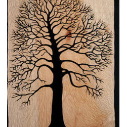 """Chestnut Tree Silhouette (Castanea Sp.)"" (Original) By Caitilin Pope Daum - This Carving Is A Portrait Of A Grand Old Chestnut Tree Growing In Portland, Or."