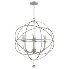 Lighting By Gregory: Crystorama Solaris 6 Light Chandelier in Olde Silver Finish
