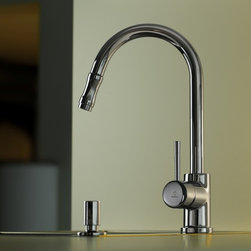 WS Bath Collections - Evo Kitchen Sink Mixer - Evo by WS Bath Collections Kitchen Sink Mixer with Pull-Out Spray in Polished Chrome, Available in Polished Chrome, Mat Chrome, or Stainless Steel, Made in Italy