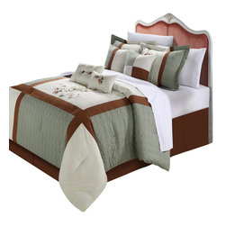 Chic Home - York Sage Comforter Bed in a Bag set 8 Piece - Queen - Color Block Pieced Patchwork Detailed embroidery comforter set. Sage and Brown Hughes allow you to compliment this Decor to any inspired look you need. Soft floral embroidered are also a plus to create that old world charm to any room Decor. Oversized and Overfilled. 4 Elegant Decor pillow combinations give you many alternate looks you can achieve with just this one set. This 8-piece lavish comforter set comes with everything you need to do a complete makeover for your master or guest suite.