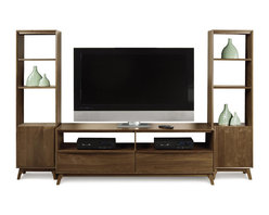 "Copeland - Catalina Entertainment Center - Catalina Entertainment Center  by Copeland Furniture The Catalina Entertainment Center combines the warmth of solid wood and the beauty of mid-century modern design into one spectacular piece. A 66"" wide TV stand can support most TVs on the market today while the flanking bookcases provide storage and display space. With open shelves and smooth drawers the Catalina Entertainment Center offers plenty of space for all of your media accessories.   The Catalina Entertainment Center features: Overall: 85.5"" w x 20"" d x 64"" h Consists of Catalina 66"" wide media stand and 2 Catalina bookcases TV Stand: 66"" w x 20"" d x 64"" h Bookcase: 19.5"" w x 14"" d x 64"" h TV Stand has integrated wire management Crafted of solid American black walnut hardwood with a natural finish"