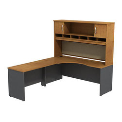 """BBF - BBF Series C 72W x 24D LH Corner Desk with Hutch - BBF - Computer Desks - SRC002NCL - Plenty of room to spread out on this expansive L-Desk from BBF Series C. The 72""""W Corner Module and 48""""W Bridge create a large work surface that completes any office. With its durable thermally fused laminate work surface the L-Desk work surface resists scratches and stains to retain its good looks and clean lines while the wire management system aids in keeping cords out of site with desktop grommets and wire channels. The 72""""W 2-Door Hutch adds extra storage and organizational space with a fabric covered tack board the length of the hutch for visual organizers and six open work-in-progress trays. The large open center storage of the Hutch is complimented by two covered storage compartments using Euro-style self-closing hinges for a soft close and lasting convenience. With a finish to match any decor additional BBF Series C pieces allow for additional configurations as your needs evolve and grow. Solid construction meets ANSI/BIFMA test standards in place at time of manufacture; this product is American Made and is backed by BBF 10-Year Warranty."""