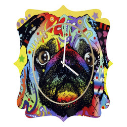 DENY Designs - Dean Russo Pug Quatrefoil Clock - Tick tock, tick tock. When time feels like it's standing still, check out the quatrefoil clock collection. With a sleek mix of baltic birch ply trim that's unique to each piece and a glossy aluminum face, this quatrefoil clock is just what you need to make the day go by just a little bit faster.