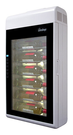 Vinotemp - Vinotemp 6 Bottle Wall-Mounted Wine Cooler, White - Conveniently store and display your wines with this wall-mountable, thermoelectric wine cooler. This 6-bottle wine cooler features a double-paned glass door to maintain cooler temperatures and has easy-to-use touch screen temperature controls.