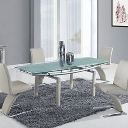 Global Furniture - Global Furniture USA 88DT 5 Piece Frosted Glass Dining Room Set w/ Beige Legs - The table features rectangular frosted glass top which is framed with clear glass and folding sides. The tubular legs are made of metal and finished in beige which completes the look of your dining or living space
