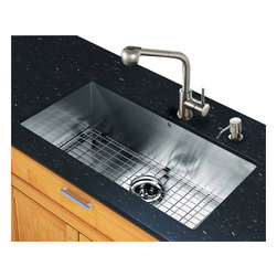 Vigo Industries - 30 in. Undermount Kitchen Sink and Faucet Set - Includes sink, faucet, soap dispenser, matching bottom grid, sink strainer, all mounting hardware and hot-cold waterlines.