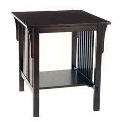 None - Bianco Collection Mission Espresso End Table - Give your living room an elegant accent with this espresso mission end table. Featuring a lower shelf and square design,this table has a sturdy frame made of rubberwood with metal hardware. The full wood top adds space for decor or food and drink.