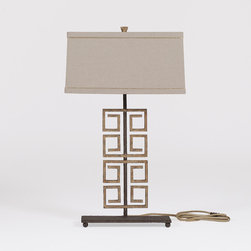 George Lamp - This unique lamp combines a iron base Greek Key motif with a tailored linen lampshade with gold piping. This sophisticated antique style lamp adds a nice touch to any room.