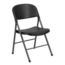 Flash Furniture - Flash Furniture Hercules Series 330 lb. Capacity Black Plastic Folding Chair - When in need of temporary seating this lightweight, portable chair is perfect. Folding chairs can be used for banquets, parties, graduations, sporting events, school functions and classrooms. This chair will be the perfect addition in the home when in need of extra seating to accommodate guests. If you are hosting an event or party where you need additional seating, you can use the number of chairs you want while storing the rest conveniently out of your way. The chair will not take up anywhere near as much space as chairs that cannot fold when it comes time to clean up. The great thing about this folding chair is that it can be used for both indoor and outdoor events to meet all your party planning needs. [DAD-YCD-50-GG]