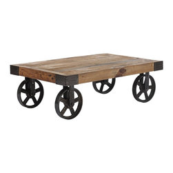 "Zuo - Zuo Barbary Coast Distressed Wood Coffee Table - Solid elm wood industrial cart style coffee table. Distressed wood finish. Antiqued metal wheels and accents. A chic addition to your home from Zuo Modern. 43 1/2"" wide. 28"" deep. 14"" high. Some assembly required.  Solid elm wood industrial cart style coffee table.  Distressed wood finish.  Antiqued metal wheels and accents.  A chic addition to your home from Zuo Modern.  43 1/2"" wide.  28"" deep.  14"" high.  Some assembly required."