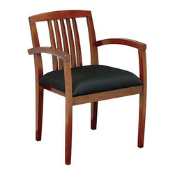 Office Star - OSP Furniture Kenwood Leg Chair with Wood Slat Back, Set of 4 - Wood guest seating coordinates with Kenwood case goods. Leg chair with upholstered seat and wood slat back. Ships 4 per carton. Frame fully assembled, seat cushions unmounted. Light cherry finish.