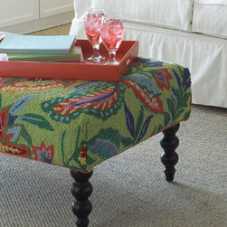 Wayan Ottoman - This vibrant floral ottoman, upholstered in a hand-hooked rug, will add pizazz to any space. Yes, it needs to be the star of the room, but with those great legs, rightly so.