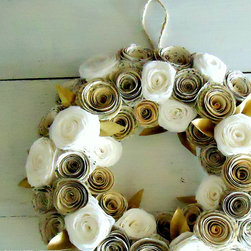 Book Page and Coffee Filter Wreath - This wreath comes in a variety of sizes and is one of the most popular that I sell. It's made from book pages and coffee filters, and handpainted gold paper leaves.