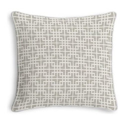 Gray Woven Square Lattice Custom Throw Pillow - Black and white photos, Louis XIV chairs, crown molding: classic is always classy. So it is with this long-time decorator's favorite: the Corded Throw Pillow. We love it in this interlocking square trellis woven in pale silvery gray and white. Equal parts plush and posh.