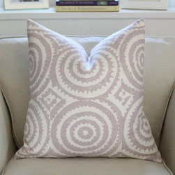 Designers Guild Corales Pillow Cover, Lilac by Pink & Piper - This linen pillow cover is made with Designers Guild's Corales fabric. The pattern is happy and elegant.