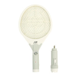 SPT Appliance - Rechargeable Insect Swatter and Flashlight - Built-in rechargeable batteries, plugs directly into wall socket for recharge. 15 hours charge time, lasts up to 30 days . Night light lures flying insects toward you. Removable 3 LED flashlight for emergencies . Powerful and effective. Kills insect at rest or in motion. Triple-layered, large contact net area. Odorless, no poison or harmful radiation. Once zapper button is released, instant electricity cut-off for safety . LED indicator. 22.6 in. L x 8.7 in. W x 1.75 in. H (1 lbs)A must have for the home and garden - rechargeable, triple-layered insect swatter with flashlight. This new and advanced insect swatter is easy to use and kills insect on contact; yet constitutes no real hazard to humans or pets. The swatter is odorless and uses no poison or harmful materials, safe for both indoor or outdoor use. Simply wave the racket-shaped swatter at any insect, while pressing down the activation button. Once activated, a low-voltage current travels through the netting and kills annoying flies, mosquitoes or any insect on contact with no smudges or mess to clean up. Built-in night light lures flying insect to you and a flashlight for emergencies. CAUTION: the net will become hot when activated, please avoid contact with skin. THIS IS NOT A TOY! Adult supervision is recommended when operating by a child.