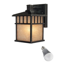 Dolan Designs Lighting - 11-Inch Outdoor Wall Light with LED Bulb - 9110-68/8W LED - This outdoor wall light distinguishes your home from others on the block with clean lines and a deep Winchester finish. A sloped roof and square frame give the piece an endearing, Mission look. backplate measures 5-inches wide by 7-inches tall. Includes one 9.5-watt LED bulb based on a breakthrough and patented technology to last 6 times longer than compact fluorescent bulbs and 35 times longer than an incandescent. Features a medium base with white diffuser and vented heat sink. Takes (1) 9.5-watt LED A19 bulb(s). Bulb(s) included. Wet location rated.