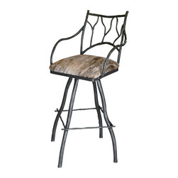 """Mathews & Company - South Fork Branch 30"""" Swivel Bar Stool with Arms - Otherwise identical to our South Fork Branch 25"""" counter stools, these 30"""" Bar Stools offer additional height for a more dramatic look. The added inches create a more scenic view of your kitchen, and the padded square seats provide luxurious comfort for those speedy morning meals. If your home features tall, attractive countertops, show them off with gorgeous complementary stools for an impressive statement that will leave guests green with envy. Complement your kitchen's color scheme by selecting a matching iron finish and upholstery. Pictured in Leather upholstery and Black finish."""