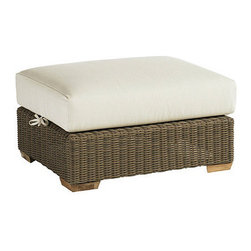 Ballard Designs - Sutton Ottoman - Off-white cushions included. Tapered foot made of Teak. Coordinates with Sutton Dining Collection & Sutton Lounge Collection. Fully assembled. Replacement cushions available. A relaxed blend of warm textures and sophisticated style, our Sutton Outdoor Ottoman takes weekend comfort very seriously. The strong, rustproof aluminum frame is wrapped in all-weather rattan that resists fading, mildew and moisture. Each strand has multiple shades of warm tan, gray and mocha to create the warm Weathered Driftwood finish.Sutton Outdoor Ottoman features: . . . . .