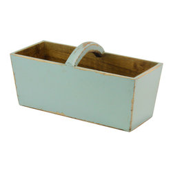 Antique Revival - Aqua Ella Planter Bucket - The Ella Planter Bucket is a great accent piece for any kitchen, patio or garden. The bucket features a curved wooden handle and works well both indoors or outdoors. The clean aqua finish adds a perfect touch of color to your existing decor.