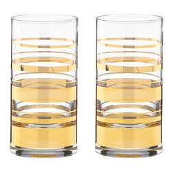 Kate Spade New York by Lenox - Kate Spade Hampton Street Hi-Ball Glasses (2 Piece Set) - Classic styling and the gleam of gold create the kate spade new york Hampton Street Stripe 2-piece Hiball Glass Set. Gold stripes of varying sizes decorate the contemporary styled glass, adding an elegant edge. Perfect for any cocktail hour and just as attractive on your table with any gold-banded dinnerware.