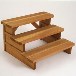 """A&B Accessories - 36"""" Redwood Three Tier Square End Steps - Constructed from top quality select grade California Redwood, a renewable resource, the innovative design of the 36"""" Redwood Three Tier Square End Steps will transform your spa or outdoor area into an attractive and functional haven for family and friends. Steps are each crafted with the quality and workmanship you have come to expect. Modular surrounds and outdoor furniture are simple to assemble with maximum flexibility in mind. Features: -Constructed of California Redwood. -Finished with EPA approved Super Deck Transparent Stain that seals and protects the wood against the evils of water, UV light, and mildew. -2 x 6 lateral square end design. -All Fasteners are Ruspert Coated, 1000 Salt Spray-rated, and will not corrode or discolor product. -Made in the USA. -Overall Dimensions: 21"""" H x 36"""" W x 33"""" D."""