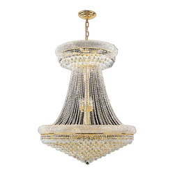 """Worldwide Lighting - Empire 28 Light Gold Finish and Clear Crystal Chandelier 36"""" D x 45"""" H Large - This stunning 28-light crystal chandelier only uses the best quality material and workmanship ensuring a beautiful heirloom quality piece. Featuring a radiant gold finish and finely cut premium grade crystals with a lead content of 30%, this elegant chandelier will give any room sparkle and glamour. Worldwide Lighting Corporation is a privately owned manufacturer of high quality crystal chandeliers, pendants, surface mounts, sconces and custom decorative lighting products for the residential, hospitality and commercial building markets. Our high quality crystals meet all standards of perfection, possessing lead oxide of 30% that is above industry standards and can be seen in prestigious homes, hotels, restaurants, casinos, and churches across the country. Our mission is to enhance your lighting needs with exceptional quality fixtures at a reasonable price."""