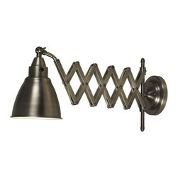 Kenroy Home - Kenroy 32197ANI Floren Swing Arm Lamp - Big style, industrial chic, and available in Antique Nickel or a Copper Bronze finish, these swing arms are an American classic. Floren's accordion extension and adjustable head make it perfect for bedside or work bench lighting.