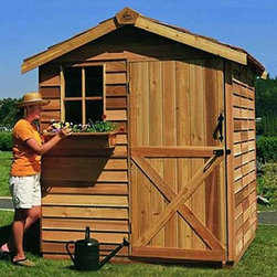 Cedar Shed 6 x 9 ft. Gardener Storage Shed - Additional features: Complete with one year limited manufacturer's warranty Includes 1 non-functional window Interior measures 5.75W x 8.7D x 7.3H ft. Window measures 16.25W x 25.25H inches Cedar Dutch door measures 2.5W x 6H ft. Includes 2 x 4 foot cedar floor joist Also includes decorative shutters and a planter box Assembly is easy with all necessary tools even the bit included Wood arrives pre-cut and ready to build Cedar features natural oils that preserve wood and resist insect damage For the pool side or near the garden the Cedar Shed 6 x 9 ft. Gardener Storage Shed transforms summer and all the stuff that goes along with it. Crafted from cedar for excellent weather wear and insect-repellent this shed makes a great changing space for the pool playhouse for the kids or gardening storage for green thumbs. Ships complete with all the necessary tools for easy comprehensive assembly. About Cedar Shed IndustriesSince 1980 Cedar Shed has grown to be one of the largest specialty cedar product manufacturers in the world. They offer top quality products like gazebos sheds and outdoor furniture all made from high-quality Western Red Cedar. Over the years Cedar Shed has grown developed and matured to the point where they are now shipping thousands of gazebos and garden sheds every year to customers around the world. Why Western Red Cedar?The supremacy of Western Red Cedar as an all-weather building material is entirely natural. Along with its beauty stability and endurance Western Red Cedar contains natural oils that act as preservatives to help the wood resist insect attack and decay. Properly finished and maintained Western Red Cedar ages gracefully and endures for many years. Western Red Cedar is non-toxic and safe for all uses. Over time the wood remains subtly aromatic and the characteristic fragrance adds another dimension to the universal appeal of the Cedar Shed products.