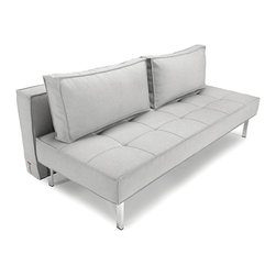 Innovation - Sly Deluxe Sofa Bed - Nobody puts Baby, or in this case, the classically modern, sophisticated, Sly Deluxe Sofa by Innovation, in the corner. The button tufted base cushion and exquisite detailing give the sleeper sofa a classic, sophisticated look while the sleek, clean lines and modern design allow it to be displayed and admired, free standing, in the middle of the room. The modern sofa beds mattress is made from a combination of high quality steel frames and pocket springs topped with a layer of quality foam and layer of heavy fiber fill making for a comfortable and stylish sleep.