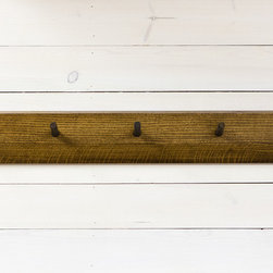 Peg Hanging Coat Rack - Options in five woods: oak, curly maple, walnut, heart pine, or bamboo.