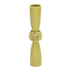 Benzara - Trendy Classic Ceramic Hourglass Shaped Light Green Vase - Ideal to create a stunning focal point in any area of your home, this ceramic vase will shine with a luxurious glimmer, when placed on the display shelf or accent table of your living room. Rich and classical, this ceramic vase flaunts a modern and trendy design that adds great style to your home decor. Display it alone or fill with a fresh bunch of flowers. The innovative pattern in an exclusive hourglass shape is an ingenious creation that is far beyond the speculation of the common mind. With an exclusive floral embellishment on the neck of its hourglass shaped design, this vase looks alluring with a glamorous finish. The truly natural color in a light green shade adds a magical touch of charisma to this wonderful vase. Created with sturdy finish and better standards, this vase is ensured with better durability.