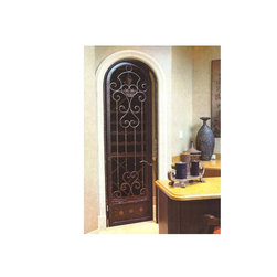 Wrought Iron Wine Cellar Arched Door - Wrought iron wine cellar doors with cast grapes manufactured arched top for a small wine cellar.