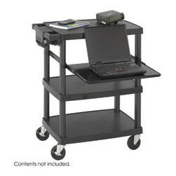 "Safco Products - Multimedia Projector Cart - Ideal height for multimedia projectors and holds monitors up to 20"". Heavy gauge plastic construction resists dents and scratches. Height-adjustable, steel pull-out shelf is perfect for laptops. UL Approved, three-outlet mini surge protector with power switch included with a 10-ft. power cord and cord management bracket. Four swivel casters, two locking. Features: -Color: Black. -Material: Plastic. -Caster/glide/wheel: Four swivel casters (2 Rear locking). -4 Shelf. -Warranty: Lifetime. -Capacity (weight): 80 lbs. Dimensions: -34.75"" H x 27.75"" W x 18.75"" D, 38 lbs."