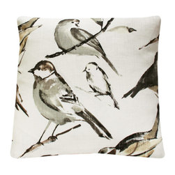 Bird on Branch in Gray Throw Pillow l Chloe and Olive - Chloe & Olive