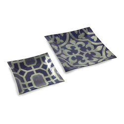 "IMAX CORPORATION - Amethyst Geometric Square Plates - Set of 2 - Medallion and geometric pattern cover this oversized set of two food safe plates in shades of amethyst. Set of 2 in various sizes measuring around 15.75""L x 15.75""W x 5.75""H each. Shop home furnishings, decor, and accessories from Posh Urban Furnishings. Beautiful, stylish furniture and decor that will brighten your home instantly. Shop modern, traditional, vintage, and world designs."