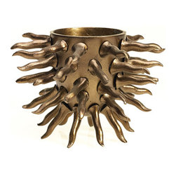 Accent Decor - Brass Roots Vase, Small - The Brass Roots Vase is a glamorous centerpiece.  Used as a vase or planter, or simply as a standalone tabletop sculpture, the Brass Roots Vase steals the show.  The vase is constructed of a golden brassy metal with spiny root-like details.  Choose from a large size for bigger pots or arrangements, or the small size for a petit statement maker.  Or group both sizes together to make twice the impact.  We love the Brass Roots Vase paired with a phalaenopsis orchid.  Add instant warmth and wonder to your modern or transitional space with the Brass Roots Vase.