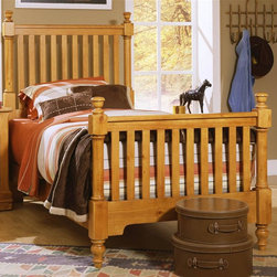 Vaughan Bassett - Youth Slat Poster Bed in Pine Finish (Twin) - Choose Bed Size: TwinTwin Size:. Includes slat poster headboard, slat poster footboard and wood rails with 3 1-inch slats. Slat poster headboard: 42.5 in. L x 3 in. W x 58 in. H. Slat poster footboard: 42.5 in. L x 3 in. W x 35 in. H. Full Size:. Includes slat poster headboard, slat poster footboard and wood rails with 3 1-inch slats. Slat poster headboard: 57.5 in. L x 3 in. W x 58 in. H. Slat poster footboard: 57.5 in. L x 3 in. W x 35 in. H. Wood rails: 76 L x 6 in. W x 1 in. H. Pine finish. Assembly required