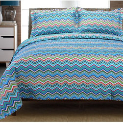 "Impressions - Home City Impressions Chevron 100% Cotton Quilt Set - ZIGZAG QUILT TW 3PC BL - Shop for Quilts from Hayneedle.com! Add at least a couple of pops of color - and pure comfort too - to a kid s bunk or the master bed with this Home City Impressions Zig Zag 100% Cotton Quilt Set. Crafted with soft 100% cotton this bright bed set includes a zig-zag printed quilt and coordinating shams available in your choice of several eye-catching colorways. Choose from several available sizes too. They re all machine washable for easy care. Bedding Components: Twin: duvet cover 1 sham Full/Queen: duvet cover 2 shams King: duvet cover 2 shams Duvet Cover Dimensions: Twin: 86L x 68W in. Full/Queen: 92L x 90W in. King: 106L x 92W in. About Home City Inc.Established in the 1980s in Queens New York selling towels and lower-thread-count sheets Home City Inc. started in small office and has developed into a worldwide manufacturing and importing company based out of Brooklyn NY. They were able to establish the name ""Home City Inc."" in 2003 which set the tone for the growth in a company that boasts over 25 years of experience in production. Over the years Home City has developed and perfected unparalleled quality products that now serve domestic and international retail stores. Today Home City's fulfillment center is located in Linden NJ with a showroom on Fifth Avenue in New York NY allowing them to provide their customers with an expanded selection of sheet sets duvet cover sets bed skirts pillowcase sets bed-in-bag sets down comforters mattress toppers pillows quilts robes towel sets and more."