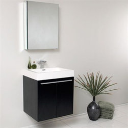 Fresca - Fresca Alto Black Modern Bathroom Vanity with Medicine Cabinet - Very handsome in its simplicity, this is a vanity that will move in, not stretch out and take up space, but will instead easily consolidate everything into two pieces. Life will be a less messy affair with this vanity installed. A wonderfully quietly designed piece, will invite everyone to come in and put outside troubles at the doorstep. Complete with a medicine cabinet that can be either wall mounted or recessed into the wall. Many faucet styles to choose from. Optional side cabinets are available. Features MDF/Veneer with Acrylic Countertop/Sink with Overflow Soft Closing Doors Single Hole Faucet Mount (Faucet Shown In Picture May No Longer Be Available So Please Check Compatible Faucet List) P-trap, Faucet/Pop-Up Drain and Installation Hardware Included How to handle your counter Installation GuideView Spec Sheet