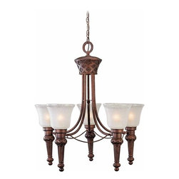 Volume Lighting - Volume Lighting V3405 Alexandria 5 Light 1 Tier Chandelier - Five Light 1 Tier Chandelier from the Alexandria CollectionDelicate with its etched seedy glass with clear edge, this 5 light 1 tier chandelier is a refined and pristine addition to your home.Features: