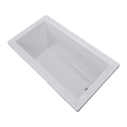Venzi - Venzi Villa 32 x 66 Rectangular Soaking Bathtub - The Villa series bathtubs resemble simplicity set in classic design. A rectangular, minimalism-inspired design turns simplicity of square forms into perfection of symmetry.