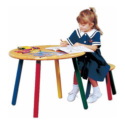 Renovators Supply - Children's Tables Hardwood Child Table & Stool Fun Color Legs   63647 - Craft Table and Set of 2 Stools. This table and stool set have no hard corners to bunmp little legs! Round table and stools are 1 in. thick hardwood with turned legs- each a different color. Non-toxic finish- almost indestructible! Table measures 20 1/2 in. high x 27 in. diameter. Includes a pair of matching stools 12 1/2 in. high x 12 in. diameter.